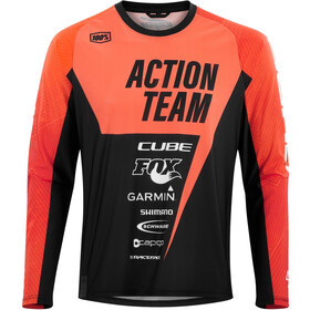Cube Edge Longsleeve Jersey Ronde Hals X Actionteam Heren, orange´n´black